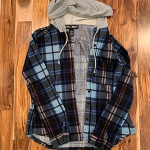Jackets & Blazers - hooded flannel button up